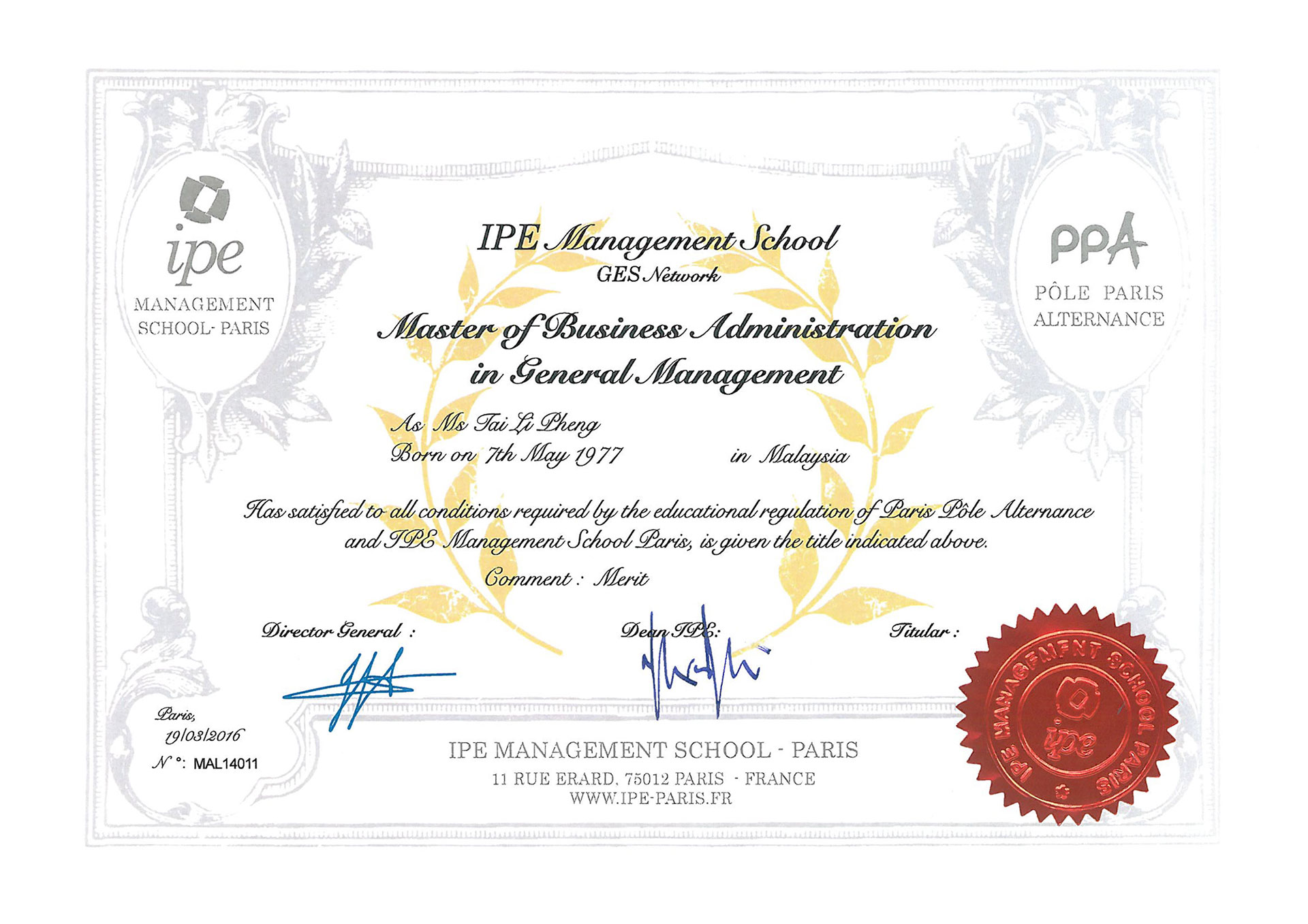 Accreditations - Alfred Ford MBA